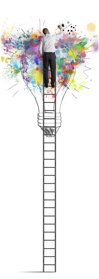 A man climbing the career ladder with success.